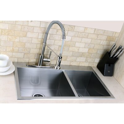 "Uptowne 31.5"" x 20.5"" Self-Rimming 70/30 Offset Double Bowl Kitchen Sink Product Photo"