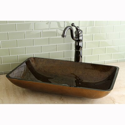 Fauceture Roma Rectangle Glass Vessel Bathroom Sink Product Photo