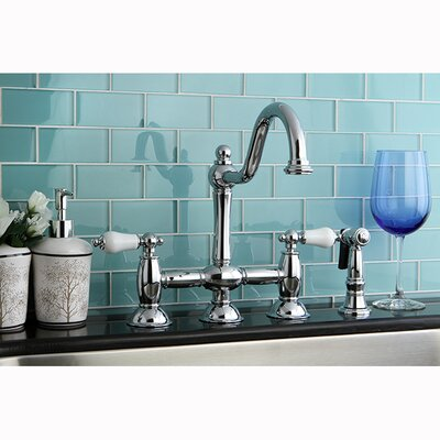 Restoration Double Handle Deck Mount Kitchen Faucet with Spray Product Photo