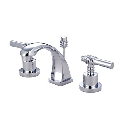 Claremont Double Handle Mini Widespread Bathroom Faucet with Brass Pop-Up Drain Product Photo