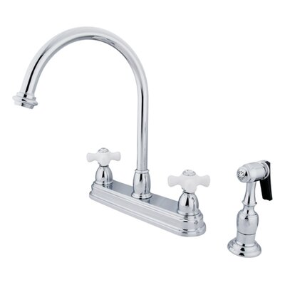 Restoration Double Handle Kitchen Faucet with Brass Spray Product Photo