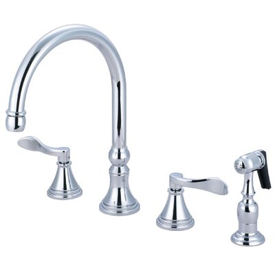NuFrench Double Handle Deck Mount Kitchen Faucet with Brass Spray Product Photo