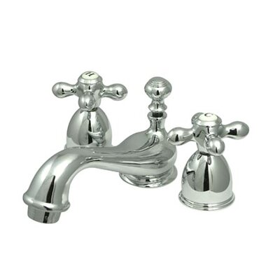Kingston Brass Restoration Double Handle Mini Widespread Bathroom Sink Faucet With Brass Pop Up