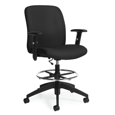 Global Total Office Height Adjustable Drafting Stool with Arms