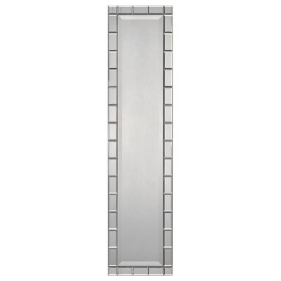 Narrow Beveled Mirror with Mirrored Block Frame by Ren-Wil