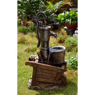 Polyresin and Fiberglass Water Pump and Pot Water Fountain by Jeco Inc.