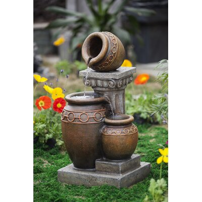 Classic Polyresin and Fiberglass 3-Pot and Column Water Fountain by Jeco Inc.