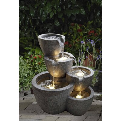 Polyresin and Fiberglass Muiti Pot Fountain by Jeco Inc.