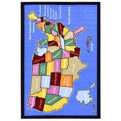 Children's American Map Blue Area Rug by Ottomanson