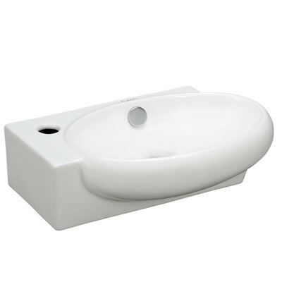 Porcelain Oval Wall Mounted Right Facing Sink by Elanti