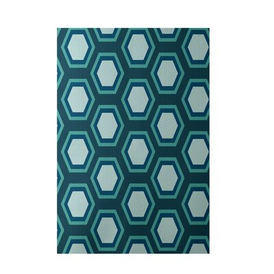 Decorative Geometric Teal/Aqua Area Rug by e by design