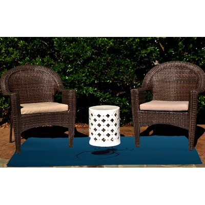 Eeek! Holiday Print Teal Outdoor Area Rug by e by design