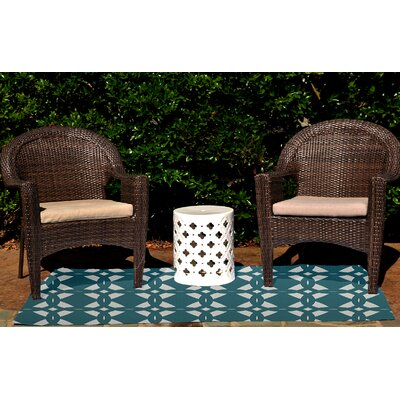 Geo-Craze Geometric Print Teal Outdoor Area Rug by e by design