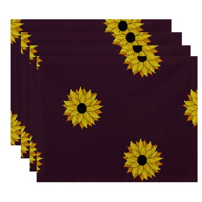 Sunflower Frenzy Floral Print Placemat by e by design