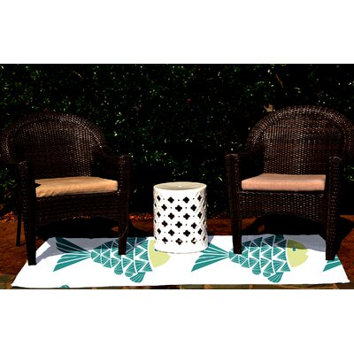 Beach Vacation Teal Outdoor Rug by e by design