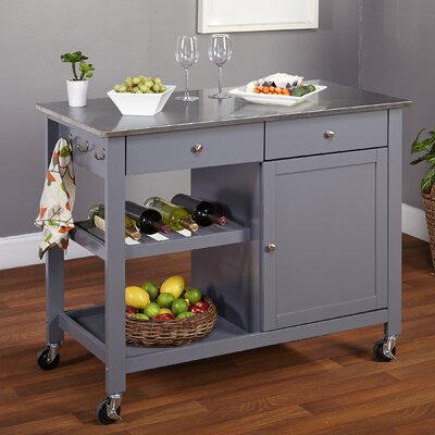 Columbus Kitchen Island with Stainless Steel Top Product Photo