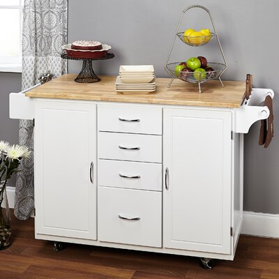 Cottage Kitchen Island with Wooden Top Product Photo