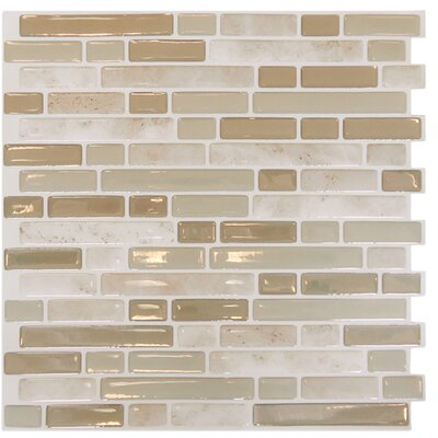 "Mosaik Wood 10"" x 10"" Mosaic Tile in Light Beige Product Photo"