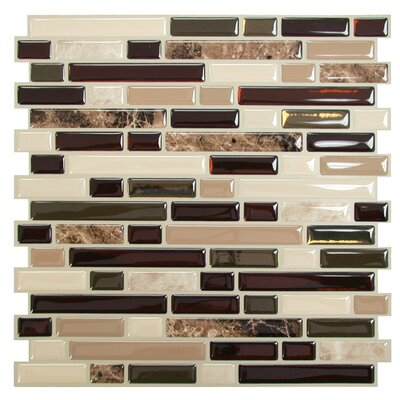 "Mosaik 10"" x 10"" Metal & Marble Mosaic Tile in Brown & Beige Product Photo"
