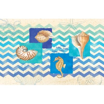 Deep Blue Sea Multi Chevron Rug by Thumbprintz