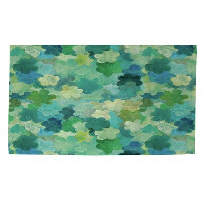 Aqua Bloom Water Blends Green Area Rug by Thumbprintz