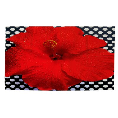 Hibiscus Red Area Rug by Thumbprintz