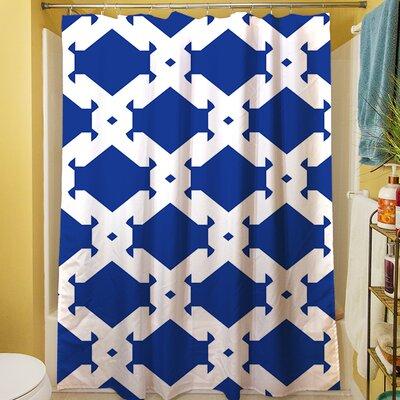 Modern Geometric Sapphire Shower Curtain by Thumbprintz