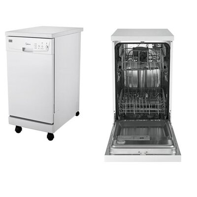 "Midea 17.5"" 53dBA Built-In Dishwasher in White Product Photo"