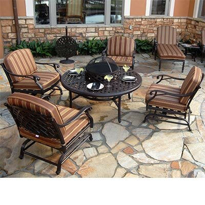 Laneon 7 Piece Fire Pit Seating Group with Cushions by Art Frame Direct