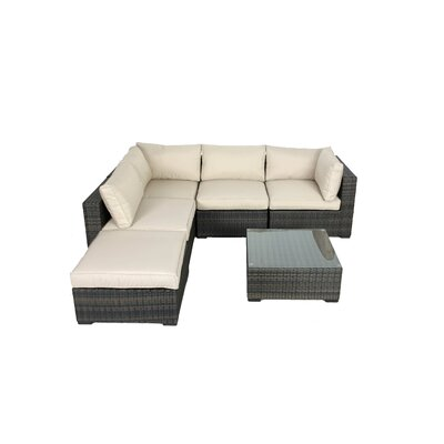 Creative Living South Hampton 6 Piece Wicker Sectional Seating Group With Cushions Reviews