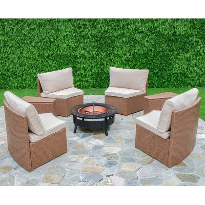 Cedar Cove 6 Piece Curved Seating Group by Creative Living