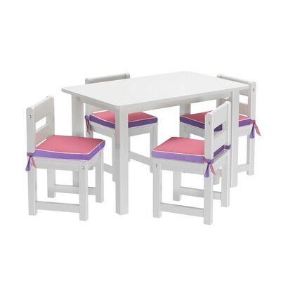 Kids 5 Piece Rectangle Table and Chair Set with Seat Pad by Maxtrix Kids