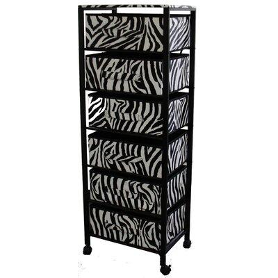 Zebra Print 6 Drawer Rack on Wheels by ORE Furniture