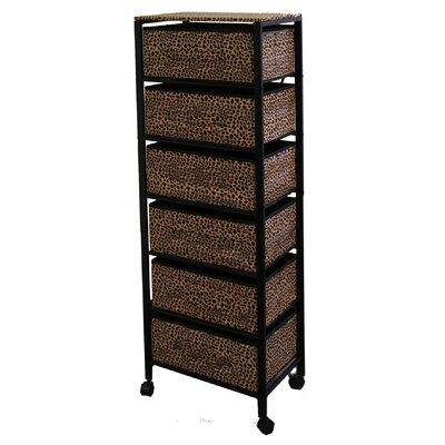 Cheetah Print 6 Drawer Rack on Wheels by ORE Furniture