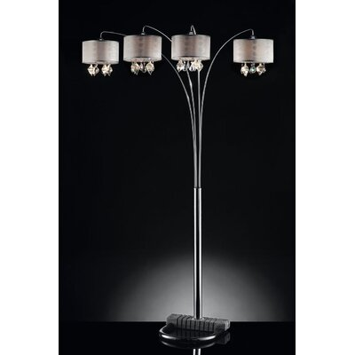 ORE Furniture Drape Crystal 4 Light Arch Floor Lamp