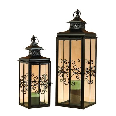ORE Furniture 2 Piece Metal Lantern Set