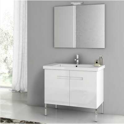 Acf new york 32 3 single bathroom vanity set with mirror for Bathroom cabinets york