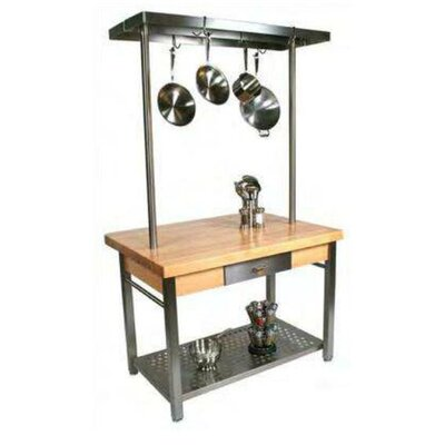 Cucina Grande Prep Table with Butcher Block Top Product Photo
