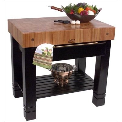 Rouge et Noir Prep Table with Butcher Block Top Product Photo