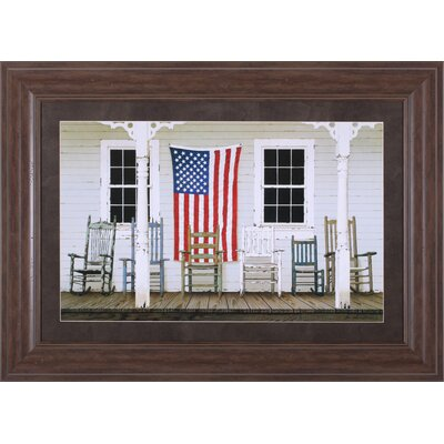 Art Effects Chair Family with Flag by Zhen-Huan Lu Framed Painting Print