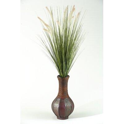 D & W Silks Tall Onion Grass in Tall Bottle Wood Decorative Vase