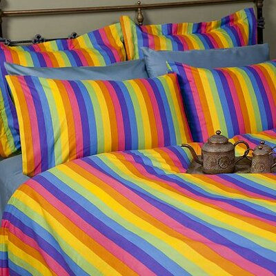 Sin In Linen Colorful Rainbow Print Cotton Duvet Cover
