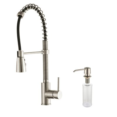 One Handle Single Hole Kitchen Faucet with Soap Dispenser Product Photo