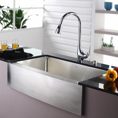 "35.88"" x 20.75"" Farmhouse Kitchen Sink with Faucet and Soap Dispenser II Product Photo"