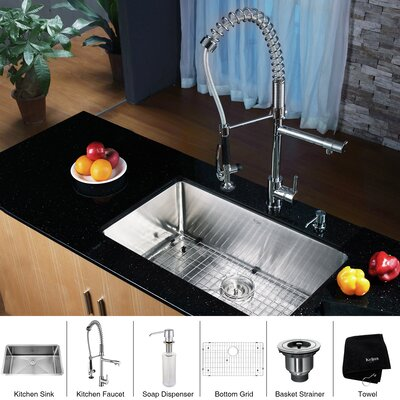 "30"" x 16"" Undermount Single Bowl Kitchen Sink with Faucet and Soap Dispenser Product Photo"
