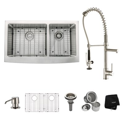 "35.9"" x 20.75"" 8 Piece  Farmhouse Double Bowl Kitchen Sink Set Product Photo"