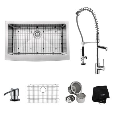 "32.88"" x 20.75"" Farmhouse Kitchen Sink with Faucet and Soap Dispenser Product Photo"