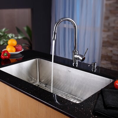 "32"" x 19"" Undermount Single Bowl Kitchen Sink with Faucet and Soap Dispenser Product Photo"