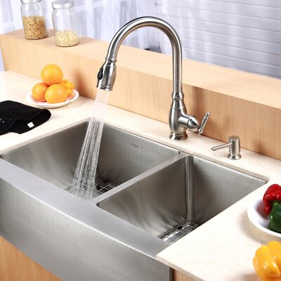 "Farmhouse 33"" 70/30 Double Bowl Kitchen Sink Product Photo"