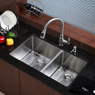 "33"" Undermount 60/40 Double Bowl 16 Gauge Stainless Steel Kitchen Sink Product Photo"